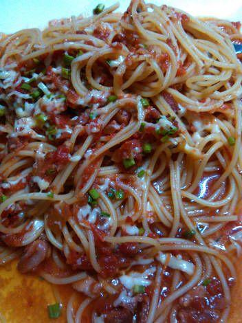 Spaghetti en salsa amatriciana