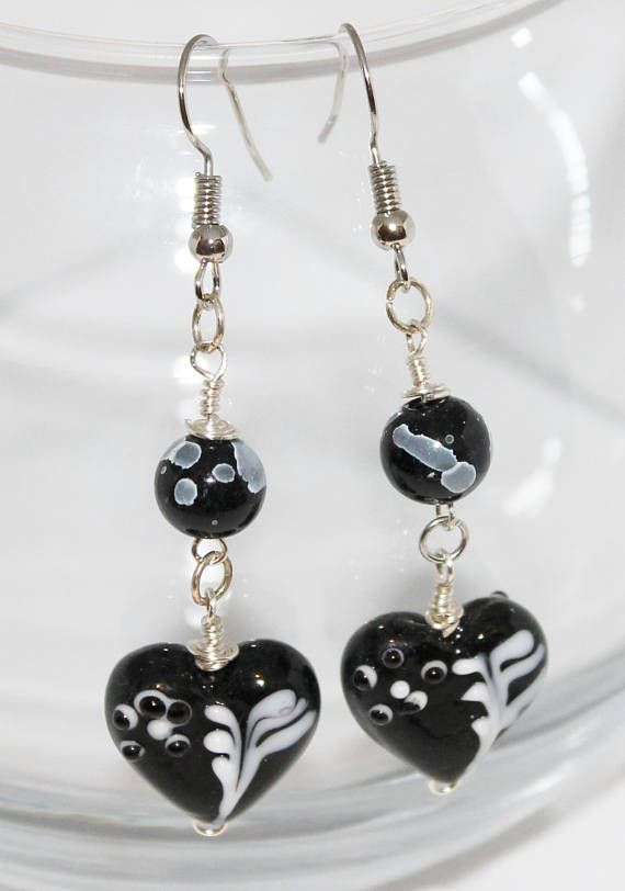 Black with White Heart Earrings