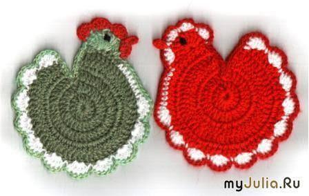 """Mis Pasatiempos Amo el Crochet: Agarraderas en crochet """"Gallinitas"""""""