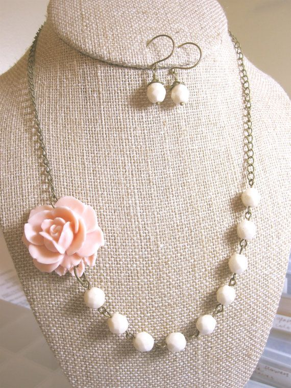 Set of 4 Bridesmaid Jewelry Sets  Flower Necklace  by kbjhandmade, $115.60