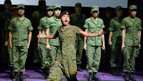 The popular Singapore military movie Ah Boys To Men has been adapted into a musical. Directed by Beatrice Chia-Richmond, it will play at Resorts World Theatre in April 2014. More on performing arts in Singapore at http://www.straitstimes.com/performing-arts-in-singapore  Photo: Desmond Wee/The Straits Times