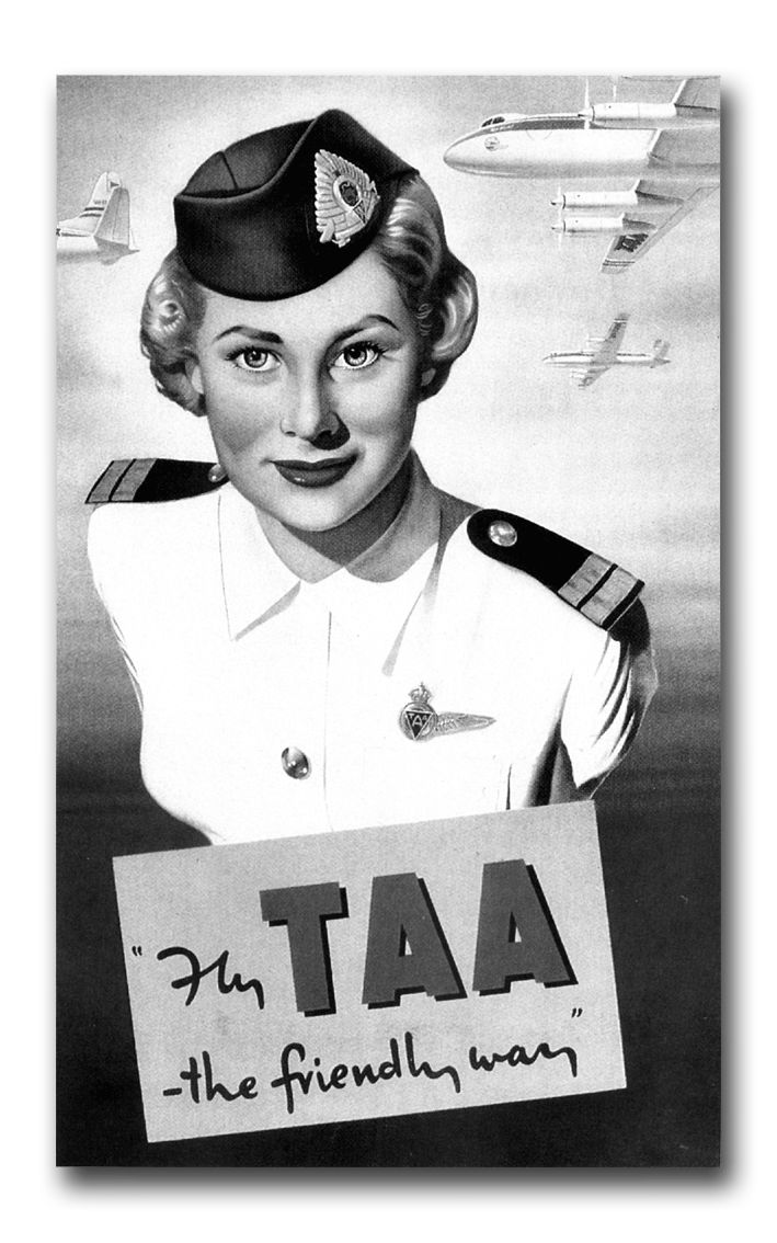 "vintage TAA - this reminds me when we used to sing jingle bells with ""Father Christmas lost his whiskers flying TAA. Hey!"" :)"