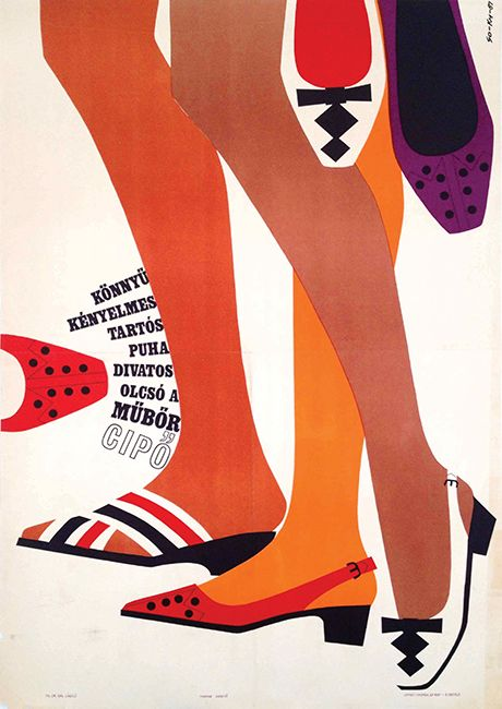 The couple graphic, So-Ky (Salt Laszlo - Hard EVA) leather shoes retro poster advertising the 1967 y