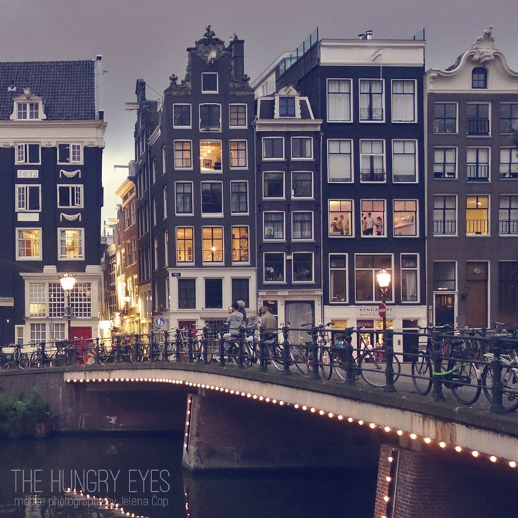 Amsterdam Photography, Canal Houses Print, Window Lights Print, People…