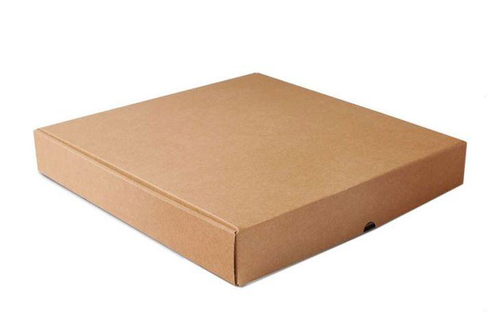 Caja de cartón fabricada en cartón kraft para pizzas familiares extra grandes, que aguanta el peso y mantiene el calor gracias al cartón micro canal