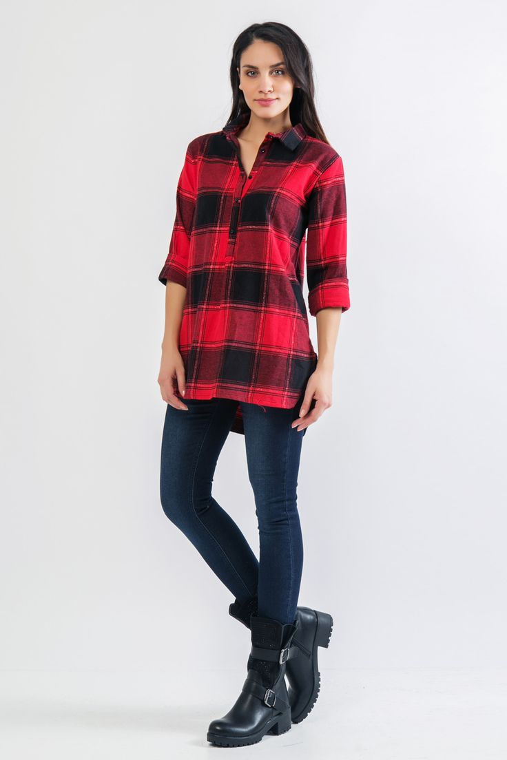 Asymmetric collar shirt. Long sleeves and side opening. Front button fastening. Glitter detail. http://www.modaboom.com/clothes/shirts-and-blouses/kokkino-mauro-karo-oversized-poukamiso/