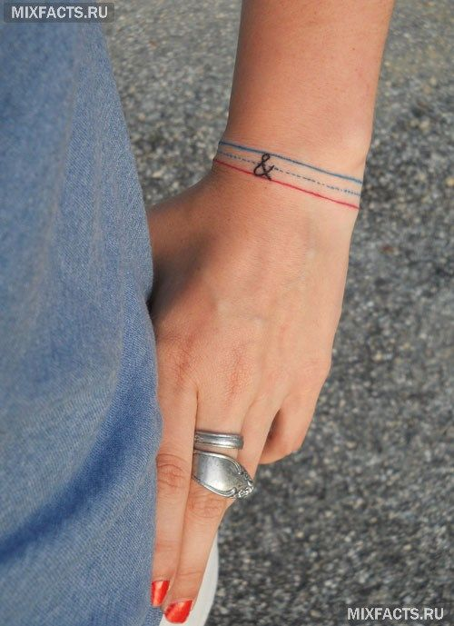 татуировки браслетом маленькая нить