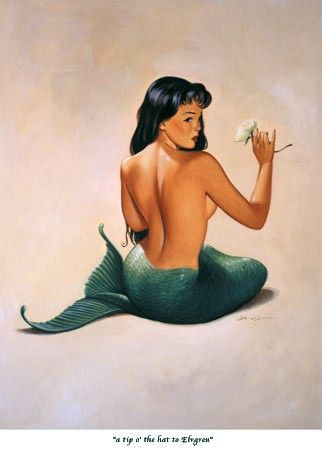 A tip 'o the hat to Ehgren / #mermaid #art #vintage