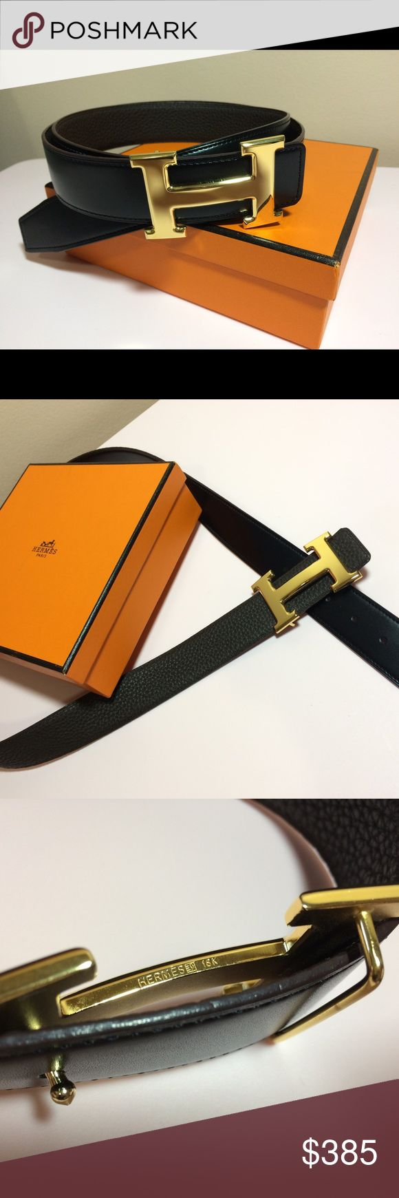 New and authentic Hermes reversible belt New and authentic Hermes  reversible men's belt  32mm calfskin  leather   Gold H buckle Size: 110 cm (38-40)   Comes with original box, papers. Hermes Accessories Belts