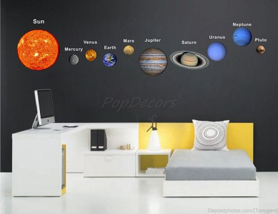 Children Solar Planets Wall Sticker Living Room Office Outer Space Decals - Solar Planet System -  Sun Earth Mars Stars Mercury Wall Arts