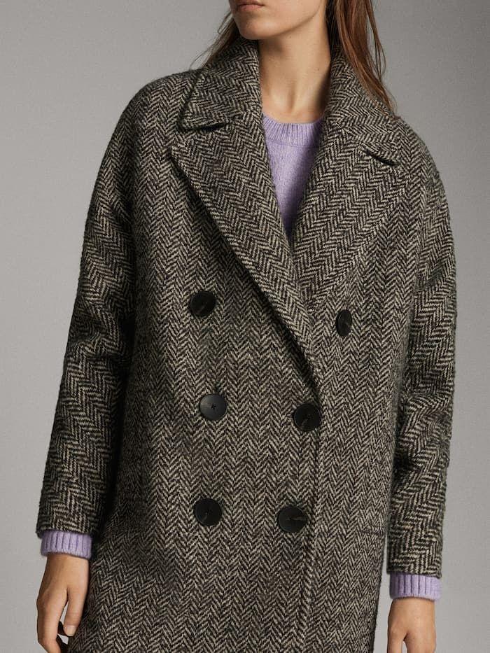 Abrigo Espiga Cruzado Mujer Massimo Dutti Mexico Coat Coats For Women Sweaters For Women