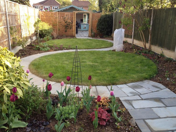 My garden circular lawn design is gradually taking shape for Garden designs for triangular gardens