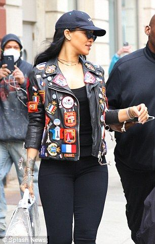 Rihanna rocks a leather jacket decorated with medals in New York