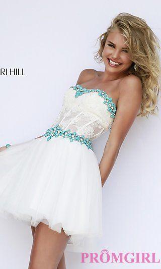 Short Sherri Hill Dress with Corset Bodice at PromGirl.com