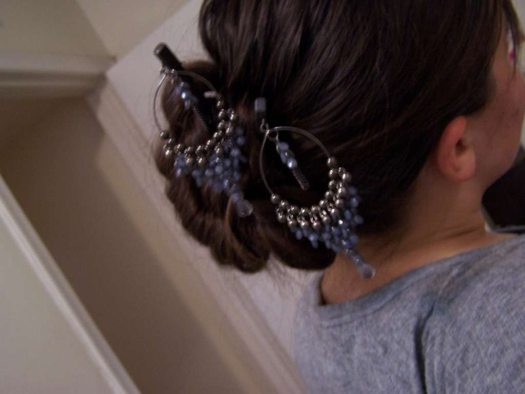 DIY hairsticks from chopsticks and earrings. Have to do this!