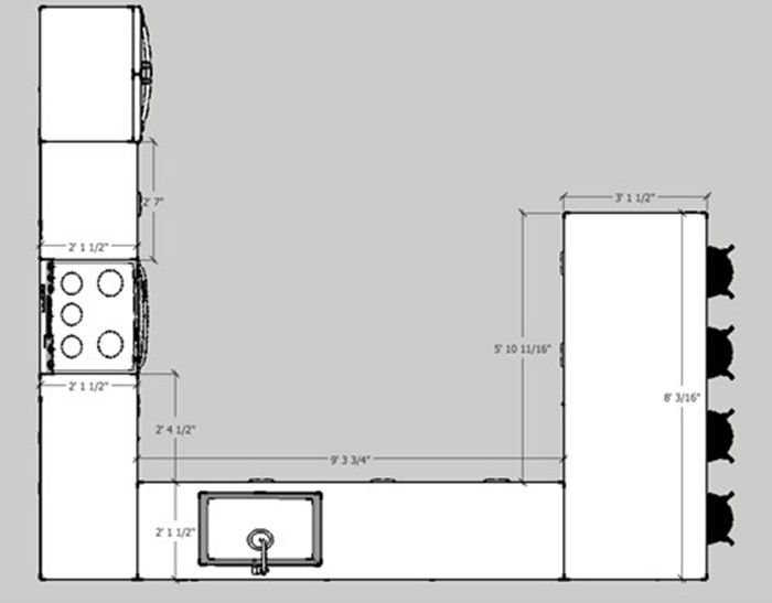 Using design software to plan your kitchen will help a ton when you need exact measurements -- this is the floor plan of our kitchen from above, in SketchUp.