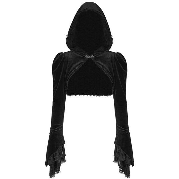 Lady Amaranth Gothic Black Velvet Shrug by Punk Rave ($64) ❤ liked on Polyvore featuring outerwear, cardigan shrug, shrug cardigan and velvet shrug