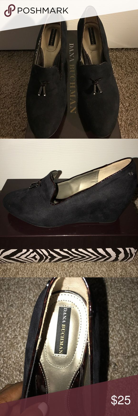Wedge loafers Black suede dressy wedged loafers. Size 8.5, worn ONCE for job interview, EXTREMELY COMFORTABLE! They've become too small for me. They are true to size. Dana Buchman Shoes Wedges
