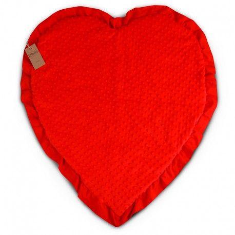 """Kocyk Niemowlaka """" Big Love By Dream&Hug """". Czerwony, super miękki kocyk w kształcie serca, oryginalny pomysł na prezent z okazji baby shower, urodzin, czy chrztu."""