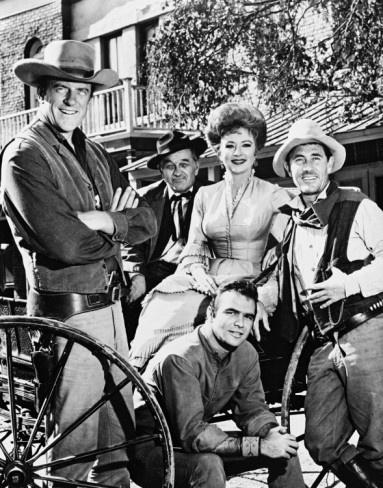 "the great western series....Gunsmoke in dodge city,kansas  (ca.1955-75)   ""Hold it!"" matt-doc-kitty-festus-quint (chester not pictured)"