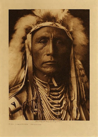 Portrait of Does Everything, Apsáalooke tribesman, Crow Nation (modern day Wyoming, Montana, and North Dakota), United States, 1908, photograph by Edward S. Curtis.