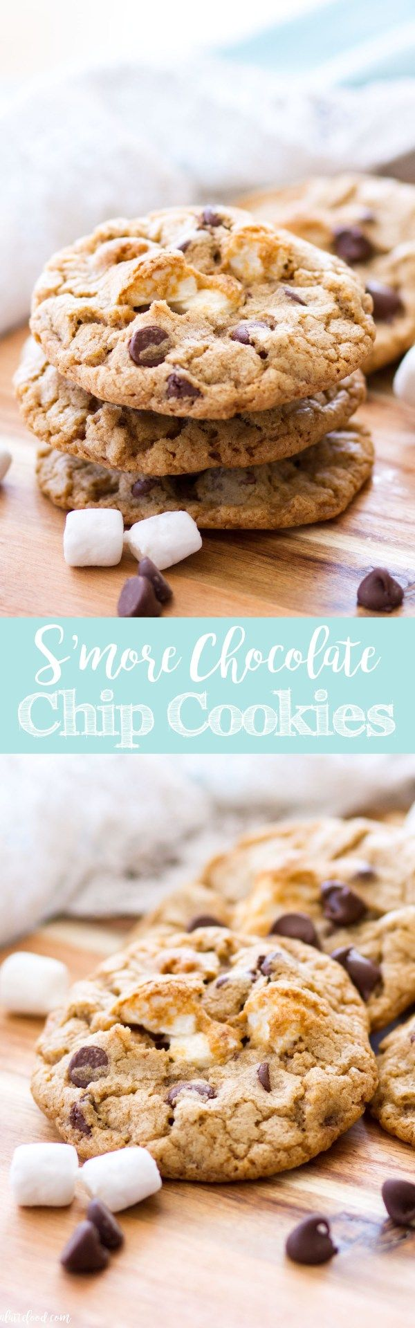 These rich S'more Chocolate Chip Cookies are filled with gooey marshmallows, crushed graham crackers, and plenty of chocolate chips!