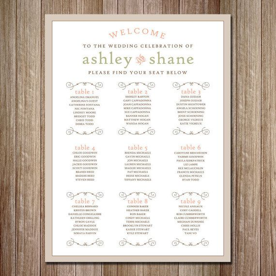 Rustic Wedding Seating Chart  Vertical  by TigerLilyInvitations