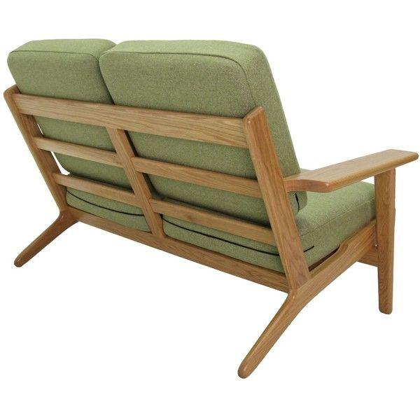 The Matt Blatt Replica Hans Wegner Plank 2 Seater Sofa Oak Walnut 1 370 Liked On Polyvore