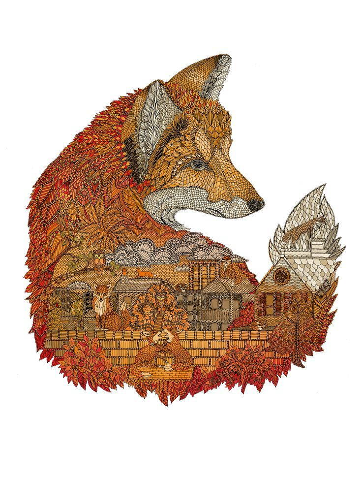 Fox by Claire Scully. 21 foxes world wide, the number in tarot that represents creation, so fox is shape shifter into all of Life Itself.