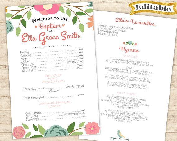 Editable PDF LDS Baptism Program Girl Digital Print girl