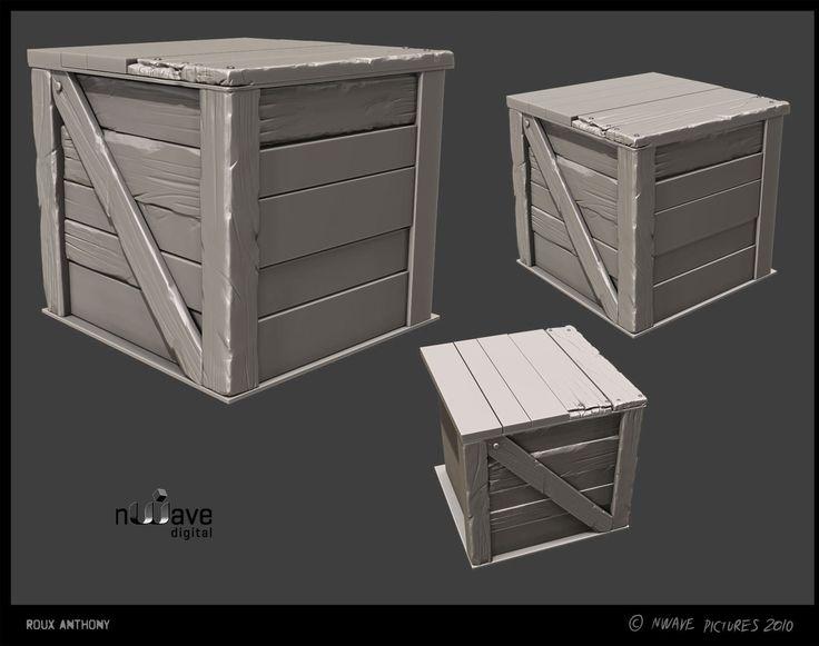 ArtStation - Wooden boxes and stone pylon, Anthony Roux Menaldo