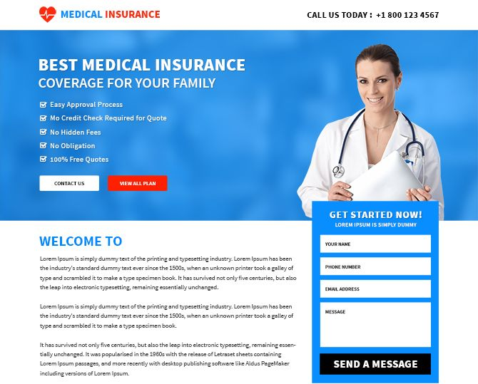 Best free hospital and doctor landing page templates. the medical insurance landing page design