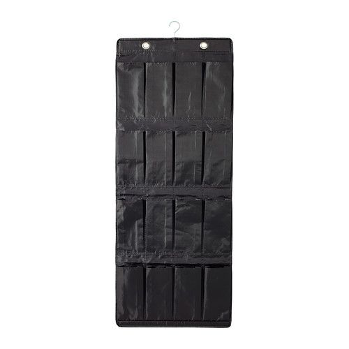 IKEA - SKUBB, Hanging shoe organizer w/16 pockets, black, , There's plenty of room for both shoes and small things in the 16 pockets.You can hang the shoe organizer on a clothes rail or on hooks, since it has both a hanger and eyelets.If you want to adjust the length you can fold up a row of pockets and fasten it on the back using the hook and loop fastener.