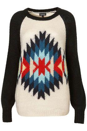 Knitted Aztec Motif Jumper