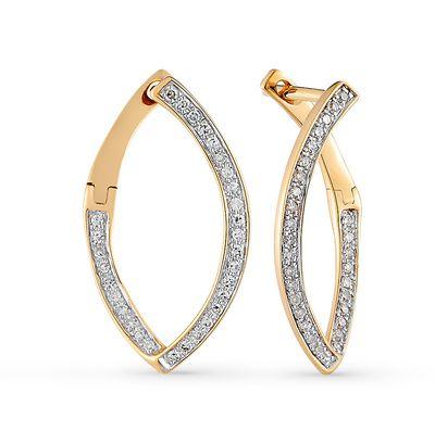 Золотые серьги с бриллиантами: розовое золото, бриллиант — купить в…