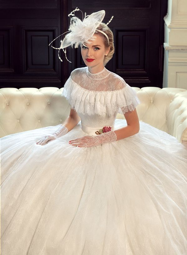 Southern belle style frill neck wedding dress: