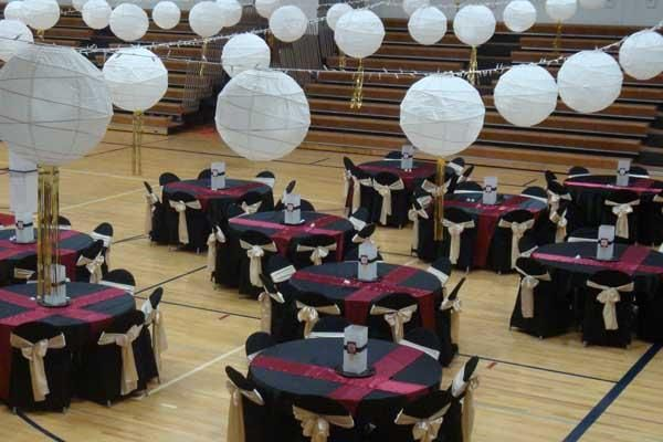 Overhead twinkle lights with hanging paper lanterns  Eason Hall ideas  Prom decor Prom