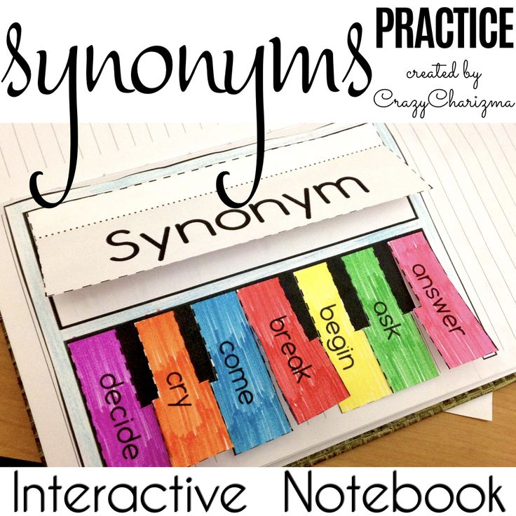 Need engaging synonyms activities? Use this interactive notebook worksheets - MUSICAL INSTRUMENTS. What?! Yes, pianos, drums and guitars to practice synonyms for various nouns, adjectives and verbs. | CrazyCharizma