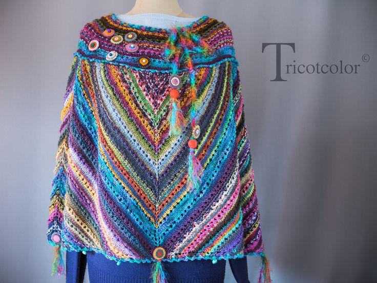 """Poncho femme tricoté à la main en pure laine """" Un autre monde """""""