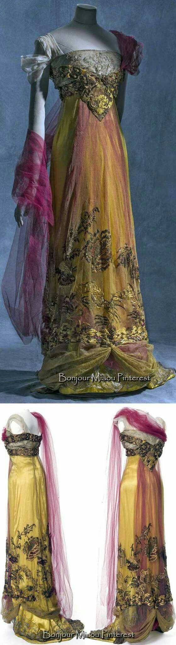 Callot sœurs, evening dress, 1909-1913, silk satin, metallic tulle and silk tulle. © Jean Tholance, Les arts Décoratifs, Paris, collection UFAC.   https://www.pinterest.com/source/europeanafashion.tumblr.com