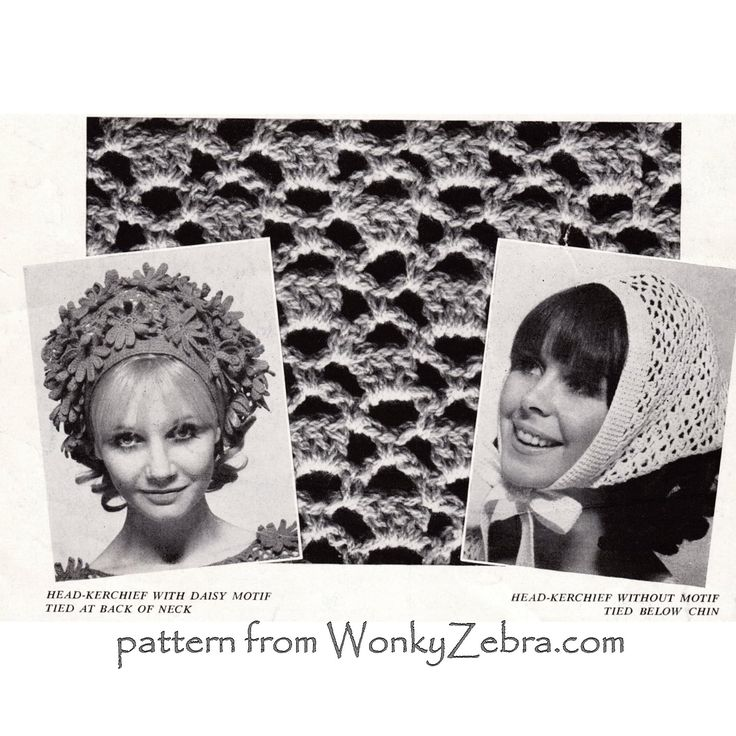 WZ791 Not strictly hats- but a lovely crochet flower and lace headscarf in full 60s style -comes with a fab crochet sheath dress in the same pattern.