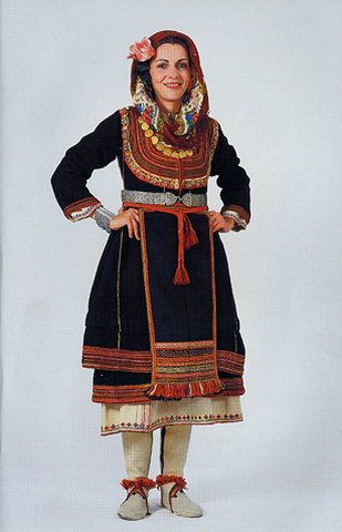 Traditional festive costume from Greek Thrace.  Clothing style: early 20th century.  This is a recent workshop-made copy, as worn by folk dance groups.