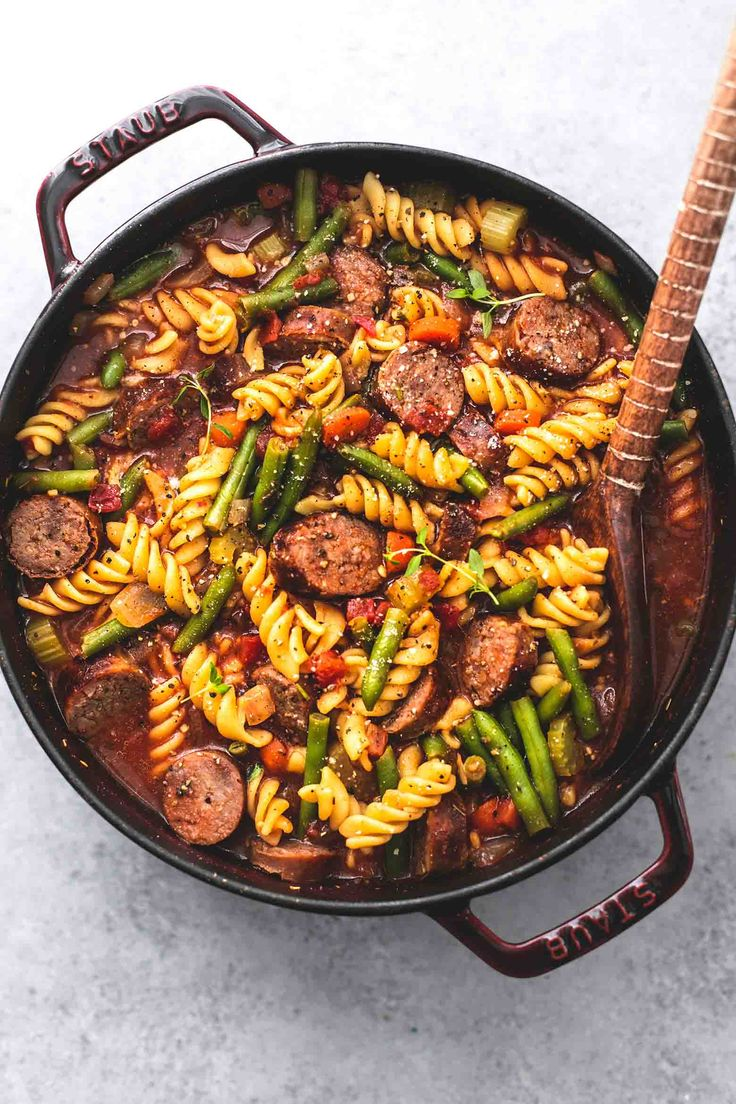 This hearty sausage and vegetable soup is loaded with juicy grilled Italian sausage, tender pasta noodles, vegetables and bold savory flavors!