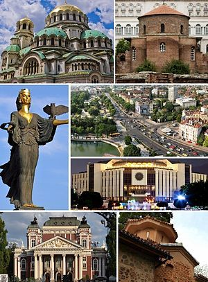 Bulgaria - capital: Sofia - photos: clockwise, from top left: Alexander Nevsky Cathedral • Church of St. George • Orlov Most Square • National Palace of Culture • Boyana Church • Ivan Vazov National Theatre • Saint Sophia Statue