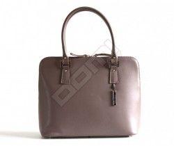 Bright Elegantní kožená kabelka hranatá zipová do ruky A5 matná 3/4 zip béžová