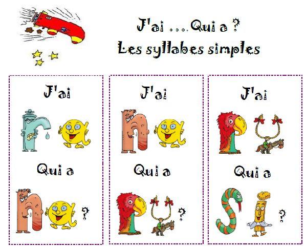 lecture de syllabes - jeu collectif - Nurvero - La vie en classe