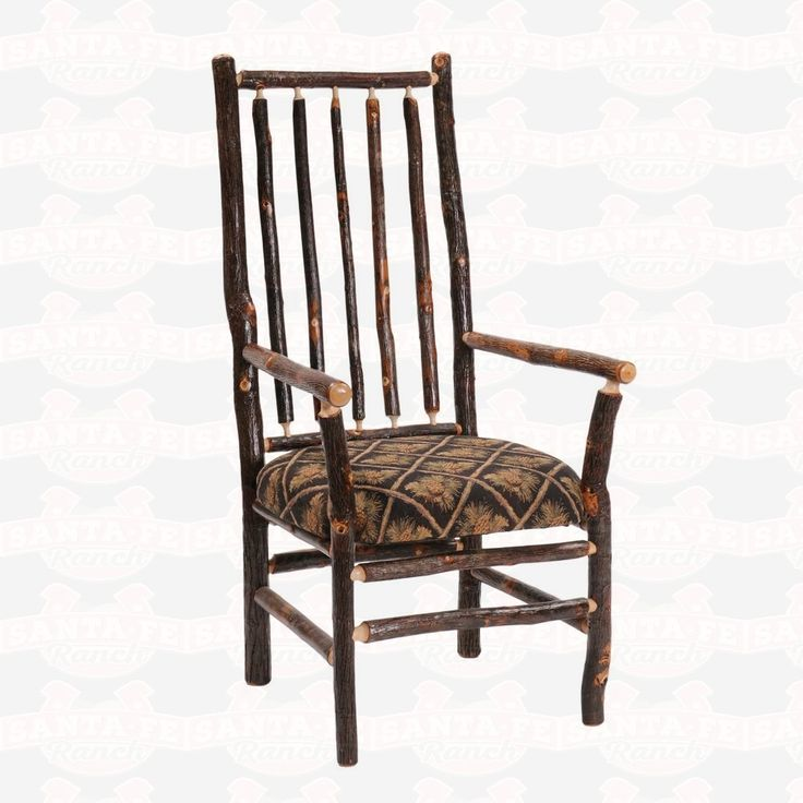 Fireside Lodge Furniture Hickory High Spoke Back Fabric Upholstered Seat Arm #DiningChair #rustic #rusticfurniture      http://www.santaferanch.com/