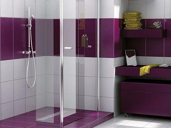 Les 25 meilleures id es de la cat gorie salles de bains for Carrelage salle de bain violet