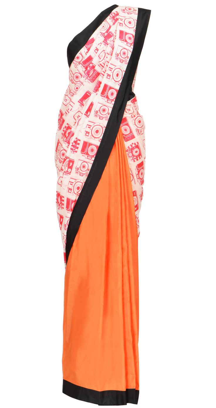 Orange and white muslin camera print sari with black border and blouse piece by Masaba is one of the most wanted Item! Shop at https://www.perniaspopupshop.com/whats-new/masaba-29
