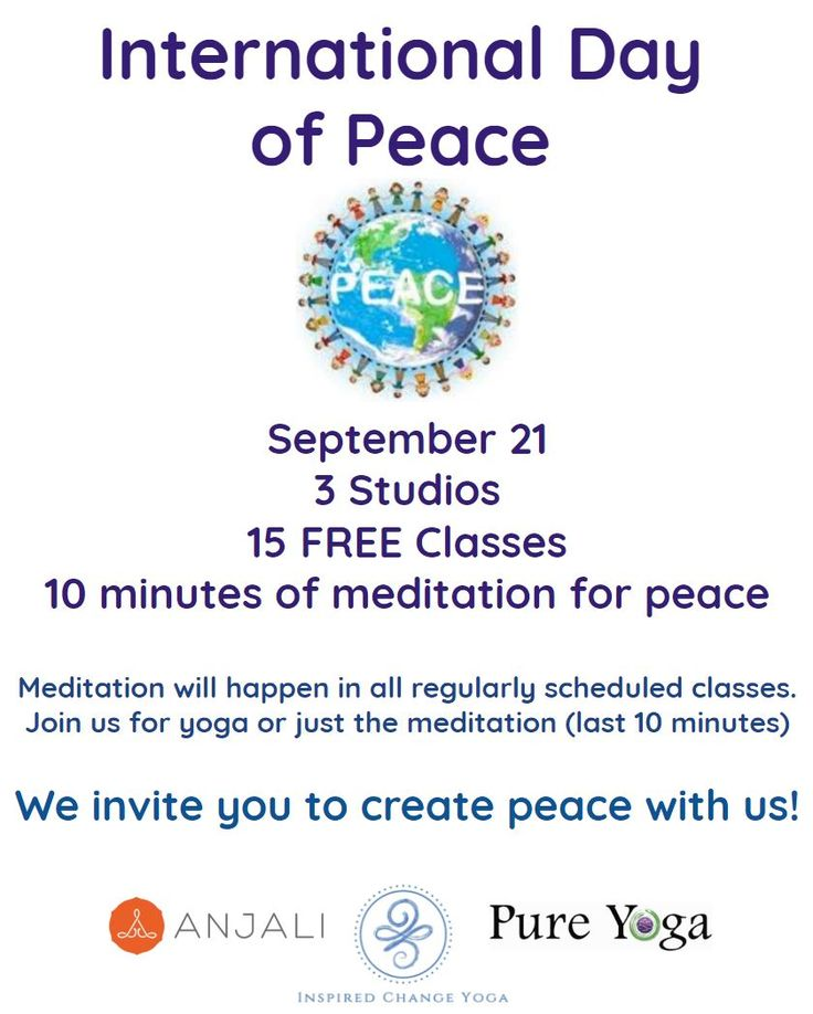 FREE YOGA this Thursday, September 21 at Inspired Change Yoga, Pure Yoga Asheville and Anjali Hot Yoga. This is to celebrate and ignite the International Day of Peace. Each class will end with a 10 minute meditation on Peace! Sign up today! http://www.inspiredchangeyoga.com/schedule/ PROMO Code: peace 2017, for your free class Or visit Anjali or Pure Yoga websites for their class schedule.